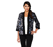 Bob Mackies Open Front Floral Sequined Jacket - A259457