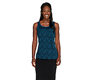 Susan Graver Lace Front & Solid Liquid Knit Back Tank - A259557