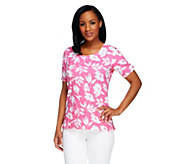 As Is Denim & Co. Perfect Jersey Floral Print Top with Gathering - A260657