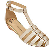 Isaac Mizrahi Live! Leather Fisherman Wedge Sandals - A261657
