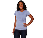 Lisa Rinna Collection Knit Top with Asymmetric Ruched Overlay - A265457
