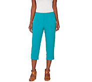 Susan Graver Coastal Stretch Comfort Waist Zip Front Slim Leg Capri Pants - A265857