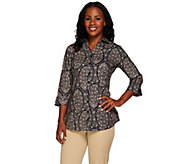 Liz Claiborne New York Paisley Printed Button Front Tunic - A267257