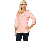 As Is Quacker Factory Lacey Scallop Embroidered 3/4 Sleeve Top - A269357