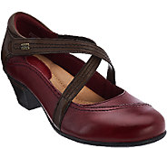 Earth_Leather Criss-crossed Strap Mary Janes - Passage - A270057
