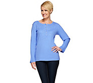Quacker Factory Rhinestone Waffle Knit Long Sleeve Top - A270657