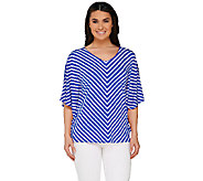 As Is Susan Graver Striped Liquid Knit Reversible Scarf Top - A272257