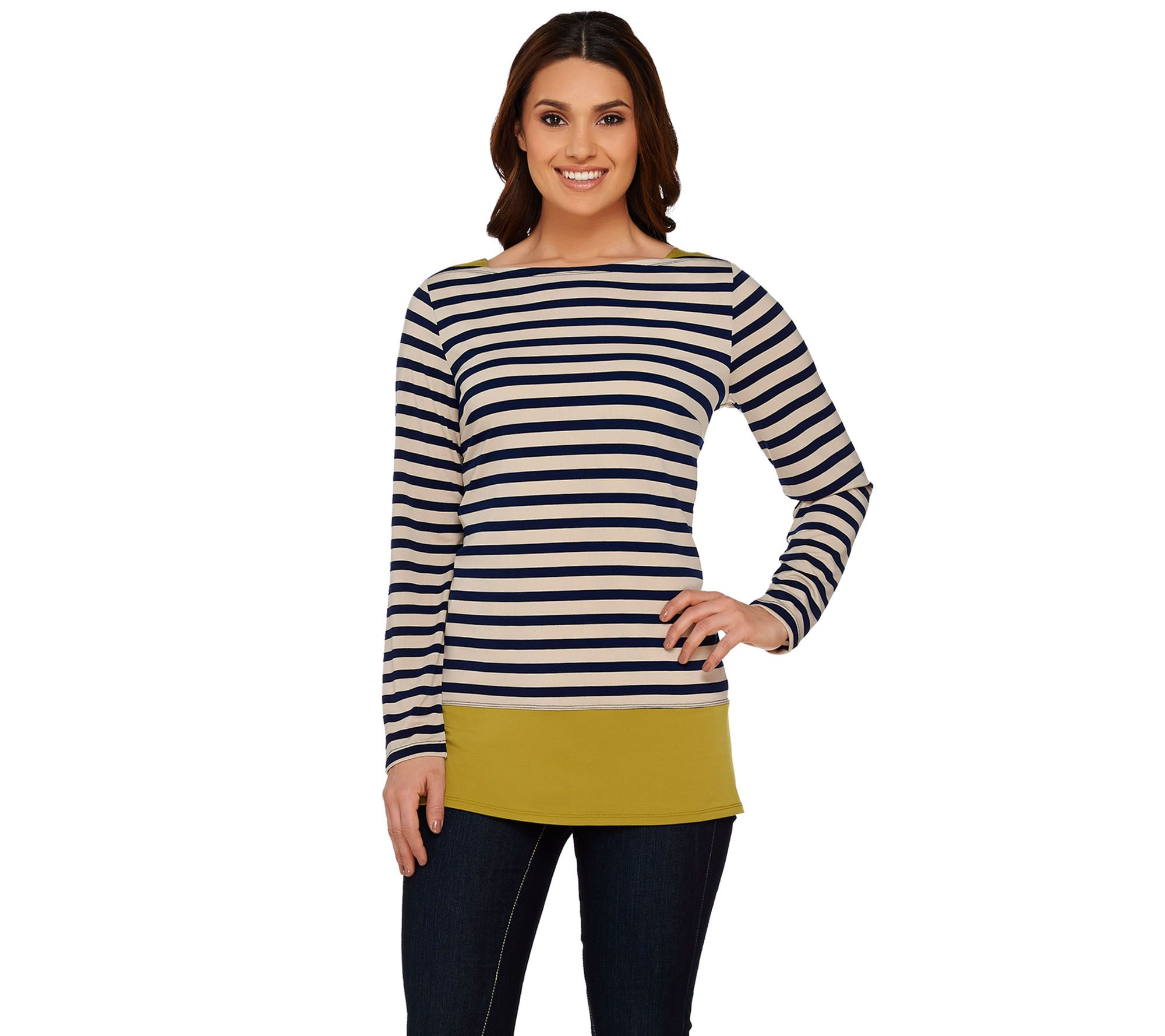 Susan Graver Printed Liquid Knit Long Sleeve Top w/ Solid Trim - A272357
