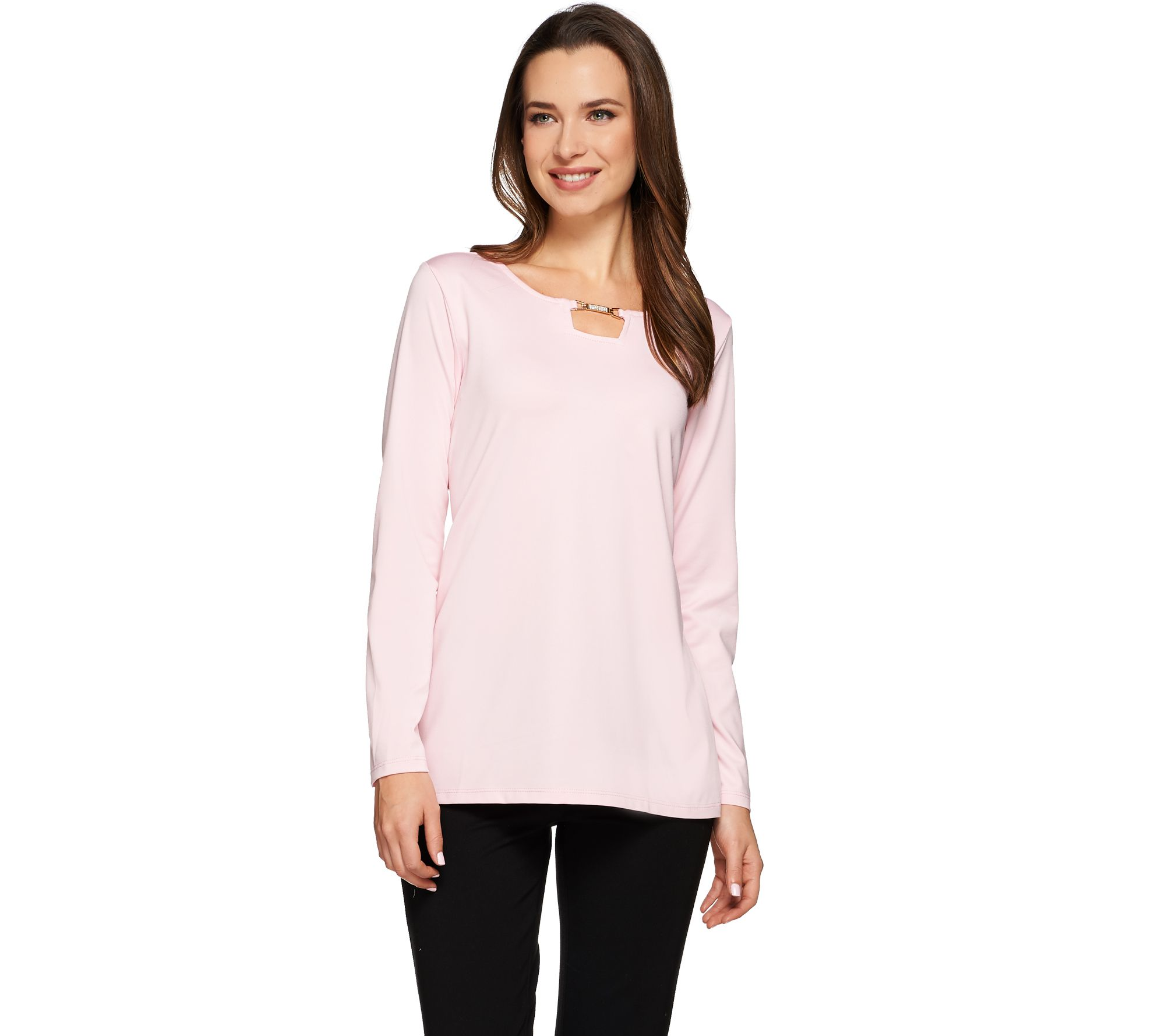 Susan Graver Butterknit Long Sleeve Top with Square Keyhole