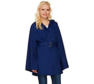 H by Halston Water Repellant Poncho Anorak with Hood - A273557