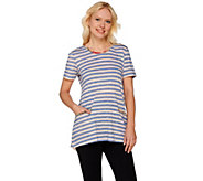 LOGO by Lori Goldstein Striped Knit Top w/ Printed Chiffon Detail - A273757