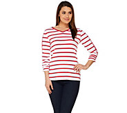 Susan Graver Weekend Striped Cotton Modal V- Neck Top with Snap Detail - A276457