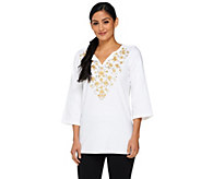 As Is Quacker Factory Golden Floral Embroidery Tunic - A277057