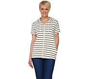 Denim & Co. Active Striped Short Sleeve Jacket w/ Hood - A277857