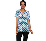 Bob Mackies Printed Hi-Low Hem Short Sleeve Knit Top - A278157