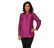As Is Joan Rivers Faux Dupioni Boyfriend Shirt - A278257