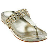 As Is Marc Fisher Leather Thong Sandals with Studs - Samba - A278757