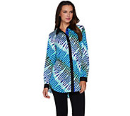 Bob Mackies Printed Button Front Collared Blouse - A279157