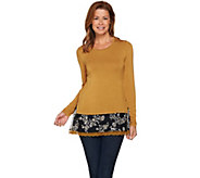 LOGO by Lori Goldstein Knit Top with Embroidered Lace Trim - A282157