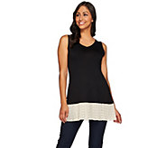 As Is LOGO Layers by Lori Goldstein Knit Tank with Broomstick Mesh - A283557