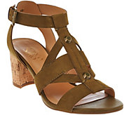 As Is Franco Sarto Leather Multi-strap Sandals w/ Cork Heel - Paloma - A284457