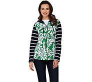As Is Susan Graver Weekend Printed French Terry Zip Front Hooded Jacket - A287357