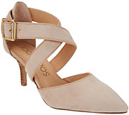 As Is Sole Society Leather Cross-Cross Strap Pumps - Tamra - A287957