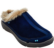 As Is Ryka Faux-Fur Clog Slip-ons - Azure - A290857