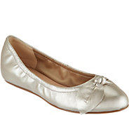 Isaac Mizrahi Live! Leather Flats with Bow Detail - A291357
