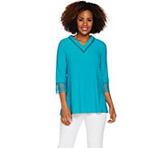 Dennis Basso Caviar Crepe V-Neck Top with Macrame Trim - A291657