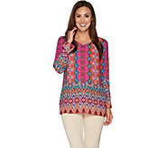 Linea by Louis DellOlio V-Neck Printed Pull Over Tunic - A293757