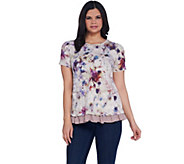 LOGO Lounge by Lori Goldstein Printed French Terry Top w/ Ruffle Hem - A302457