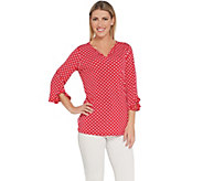 Susan Graver Polka Dot Liquid Knit Split-Neck Top - A304057