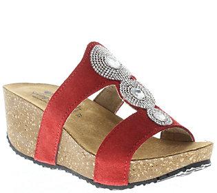 Spring Step Leather Wedge Slide Sandals - Tada