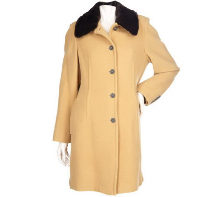Centigrade Wool Blend Walker Coat with Removable Faux Fur Collar