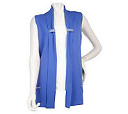 Quacker Factory Shawl Collar Sweater Vest w/ Rhinestone Trim - A217158