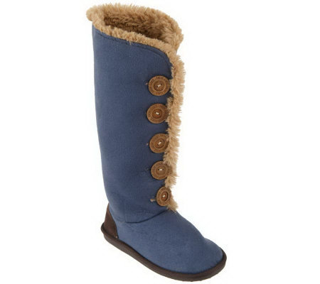 MUK LUKS Button Front Poly-Suede Memory Foam Boots