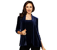 Susan Graver Stretch Velvet Ruched 3/4 Sleeve Cardigan & Tank Set - A228158
