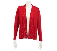 Quacker Factory Long Sleeve Fly Away Rhinestone Cardigan - A229258