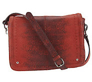 B. Makowsky Leather East/West Flap Crossbody Bag w/ Organization - A230958