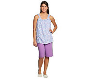 Carole Hochman Abstract Flower Cotton Jersey Bermuda Shorts and Tank Set - A231558