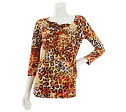 Susan Graver Printed 3/4 Sleeve Knit Top with Drape Neck - A231958
