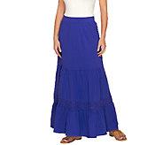 Liz Claiborne New York Tiered Knit Maxi Skirt w/ Crochet Detail - A233058