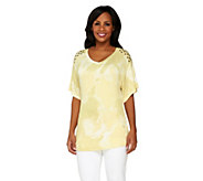 Lisa Rinna Collection Marble Print Top with Embellishment - A233358