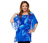 Susan Graver Floral Printed Sheer Chiffon Scarf Top w/ Knit Tank Top - A233758