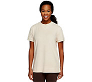 As Is Denim & Co. Short Sleeve French Terry Tunic Sweatshirt - A236758