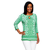 Susan Graver Liquid Knit Printed Top with Keyhole Button Detail - A253258