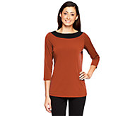 As Is Susan Graver Liquid Knit Boatneck Color-Block 3/4 Sleeve Top - A255258