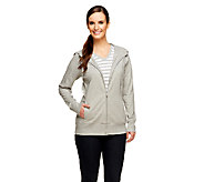 Denim & Co. Active French Terry Jacket and Knit Striped Top Set - A256058