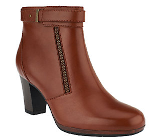 Product image of Clarks Bendables Leather Ankle Boots w/ Zipper - Kalea Gillian